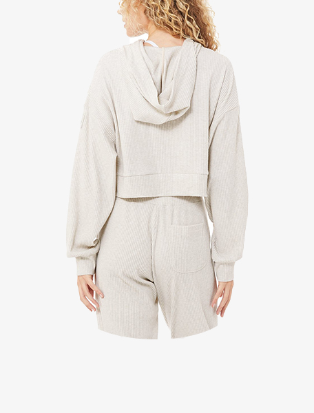 Alo Yoga Women's Muse Hoodie Bone Heather - Westlake Village,Thousand Oaks, Los Angeles, Malibu, Calabasas