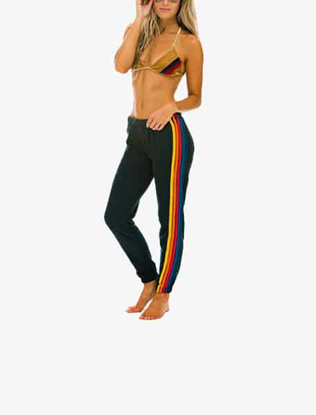 Aviator Nation Women's 5 Stripe Sweatpants Charcoal - Westlake Village,Thousand Oaks, Los Angeles, Malibu, Calabasas