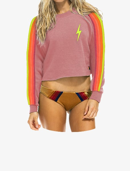 Aviator-Nation-Bolt-Embroidery-Classic-Cropped-Crew-Sweatshirt-Pentalneon-Westlake-Village-Thousand Oaks-Los Angeles-Malibu-Calabasas