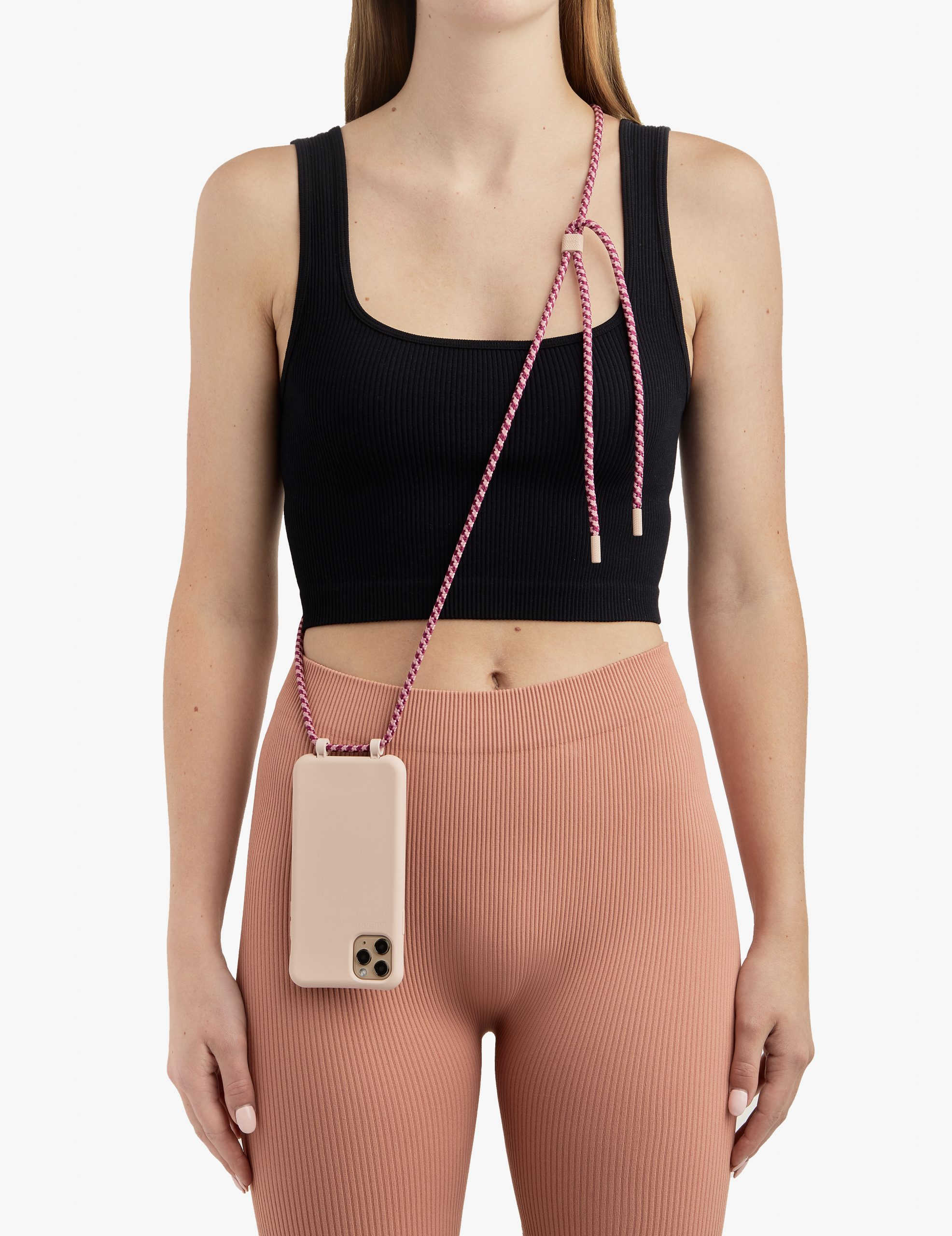 Bonibi-Crossbody-Phone-Case-iPhone-Pink-Dust-Case-Passion-Fruit-Cord-Pink-Dust-Hardware-Necklace-Lanyard-Lifestyle-Phone-Case-With-Strap-Neck Holder-Card Holder-Tether-Carrier-Functional