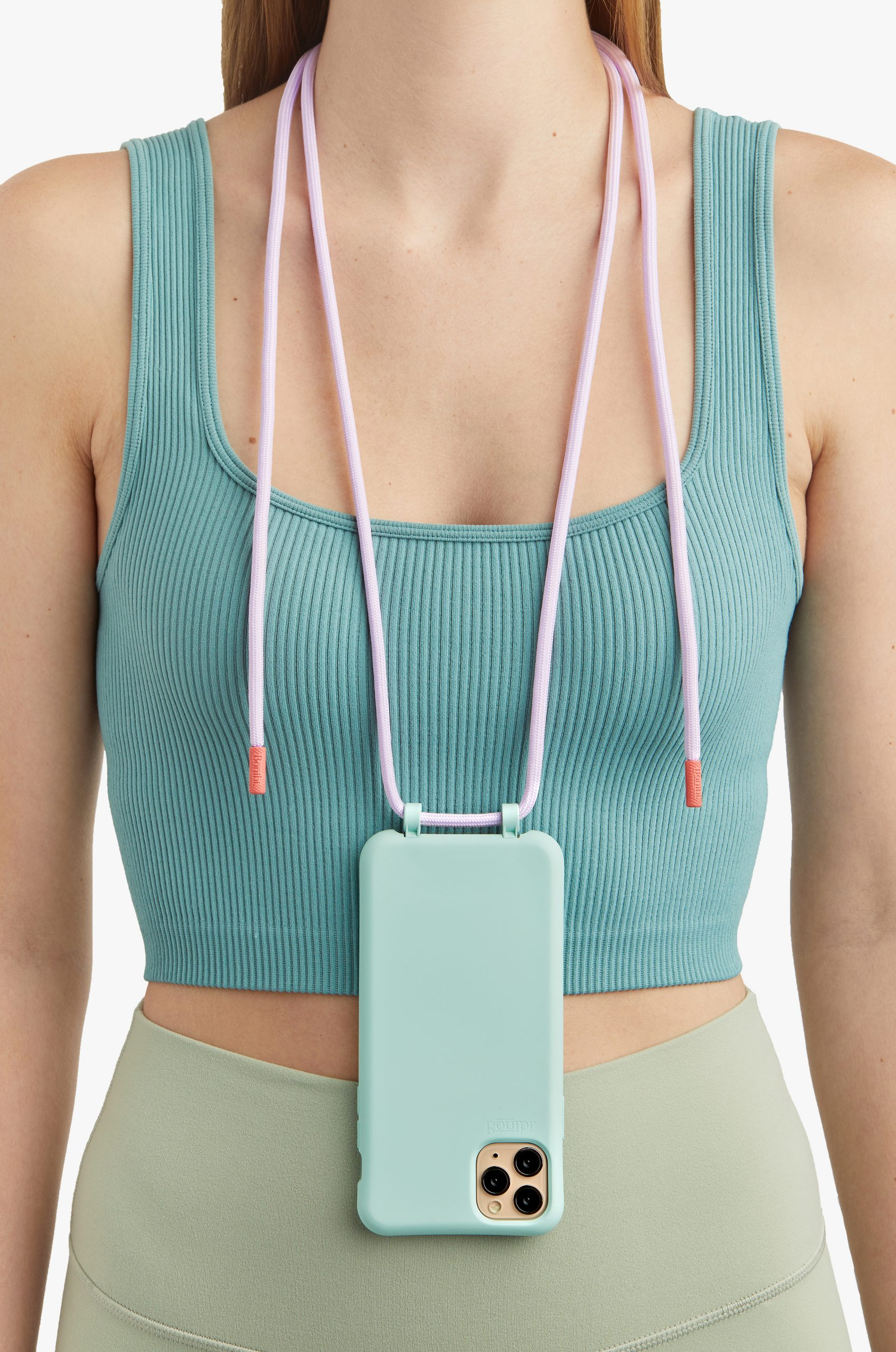Bonibi-Crossbody-Phone-Case-iPhone-Seafoam-Case-Lilac-Cord-Coral-Hardware-Necklace-Lanyard-Lifestyle-Phone-Case-With-Strap-Neck Holder-Card Holder-Tether-Carrier-Functional
