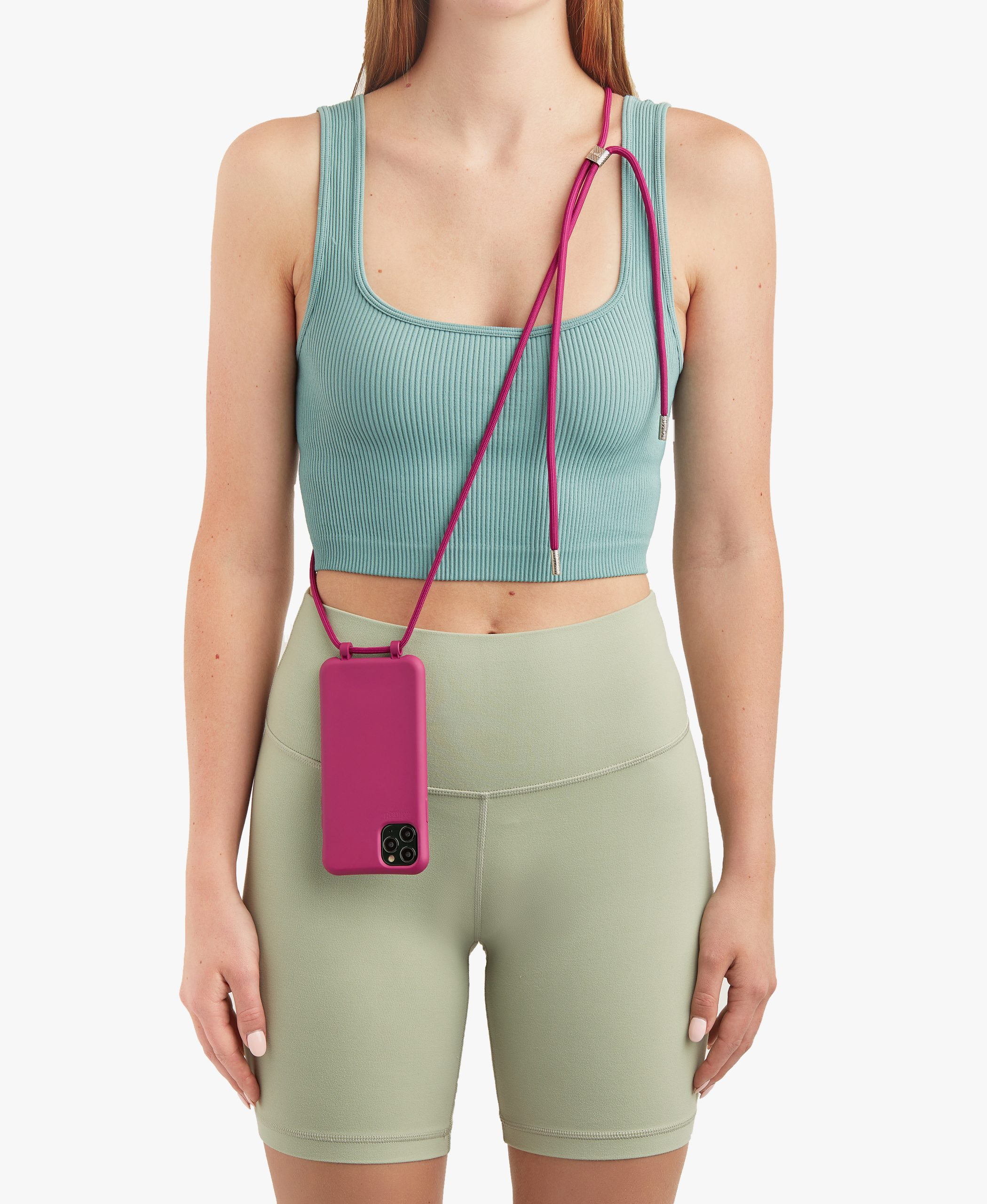 Bonibi-Crossbody-Phone-Case-iPhone-Raspberry-Case-Raspberry-Cord-Silver-Hardware-Necklace-Lanyard-Lifestyle-Phone-Case-With-Strap-Neck Holder-Card Holder-Tether-Carrier-Functional