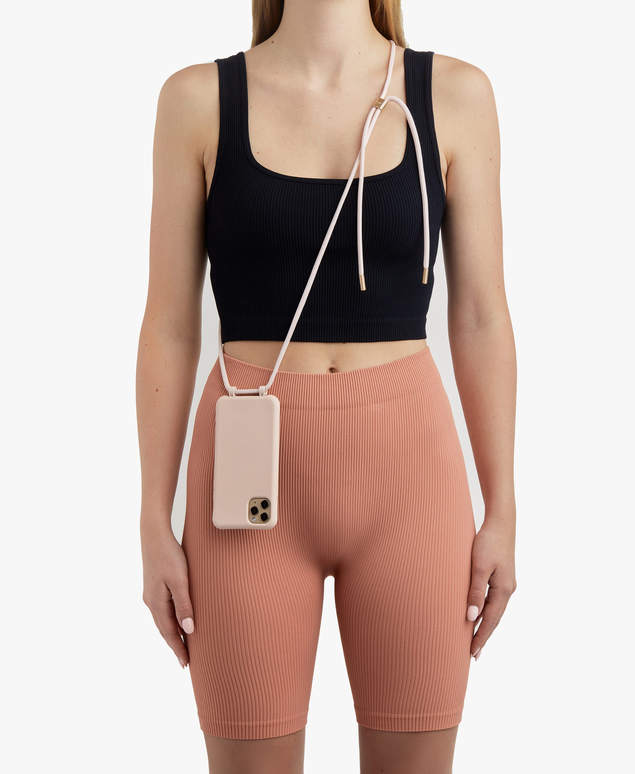 Bonibi-Crossbody-Phone-Case-iPhone-Pink-Dust-Case-Pink-Dust-Cord-Gold-Hardware-Necklace-Lanyard-Lifestyle-Phone-Case-With-Strap-Neck Holder-Card Holder-Tether-Carrier-Functional