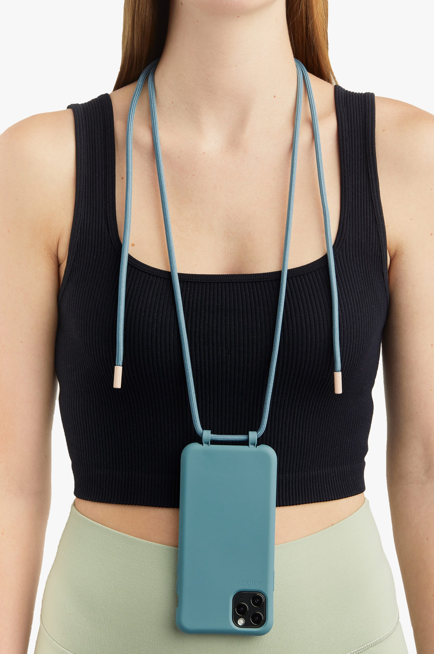 Bonibi-Crossbody-Phone-Case-iPhone-Pine-Case-Pine-Cord-Pink-Dust-Hardware-Necklace-Lanyard-Lifestyle-Phone-Case-With-Strap-Neck Holder-Card Holder-Tether-Carrier-Functional